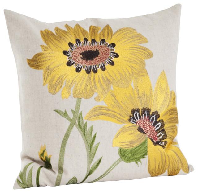Le Tournesol Embroidered Sunflower Decorative Throw Pillow Awesome Sunflower Decorative Pillows