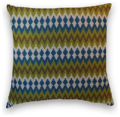 Blue Brown Green Throw Pillows : Green Blue Brown Chevron Throw, - Traditional - Decorative Pillows - by Cody & Cooper Designs