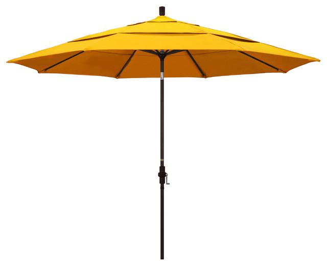 11&x27; Aluminum Umbrella Collar Tilt Bronze, Sunbrella, Sunflower Yellow.