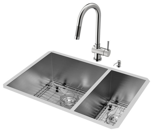 "Vigo All-In-One 29"" Endicott Double Bowl Undermount Kitchen Sink Set."