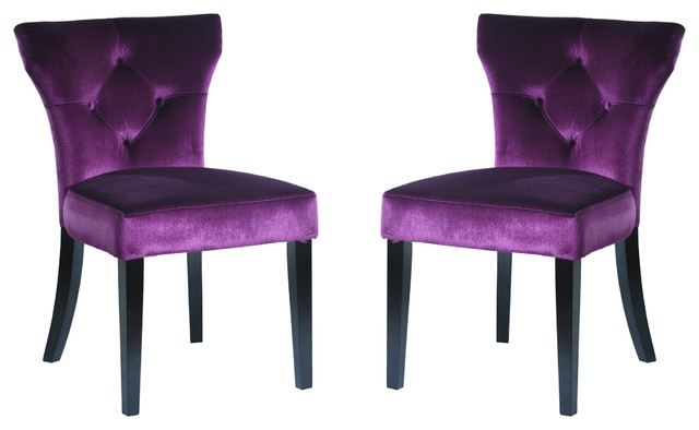 Ratner Side Chair Purple Velvet Set Of 2 Transitional Dining Chairs By Armen Living