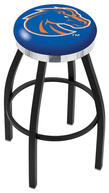 Boise State Broncos Swivel Stool Black With Chrome Accent