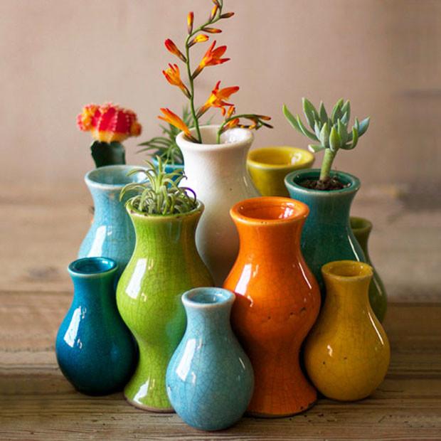 Fiestita Ceramic Bud Vases - Set of 13