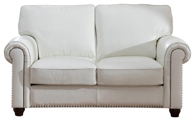Pembrooke Leather Loveseat, White.