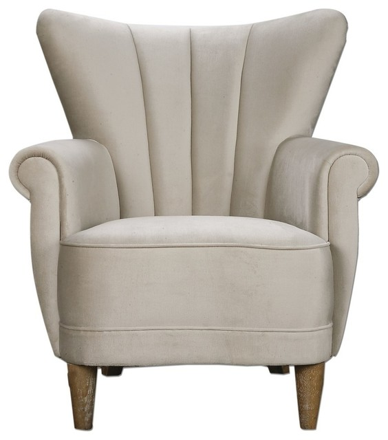 Velvet Wing Chair, Off White Midcentury Armchairs And Accent Chairs