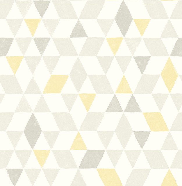 Shop Houzz Brewster Scandi Yellow Triangles Wallpaper