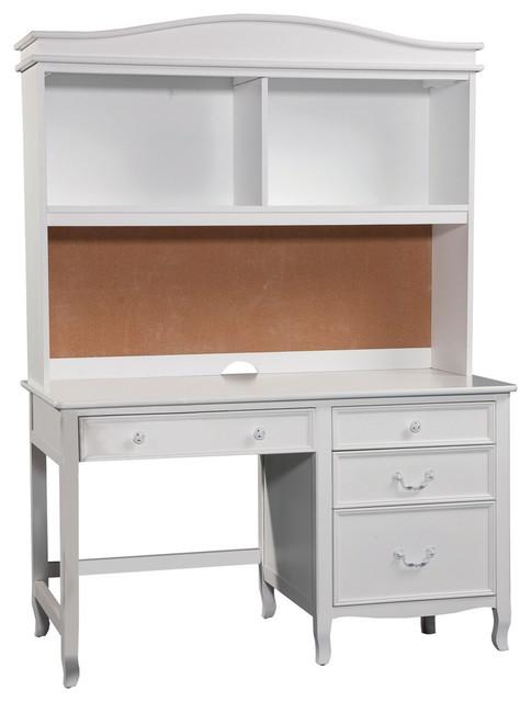 Emma Pedestal Desk With Hutch, White