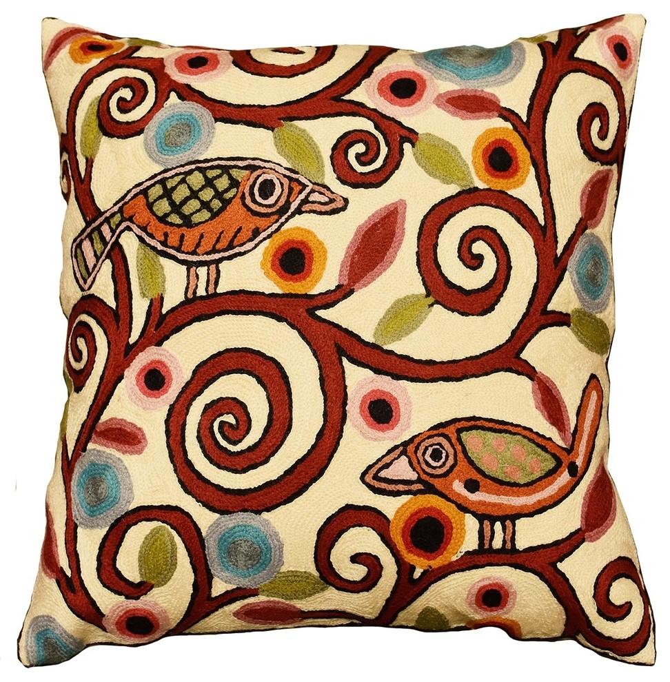Klimt Ivory Pillow Cover Birds Tree Of Life Throw Cushions Handmade Wool 18x18