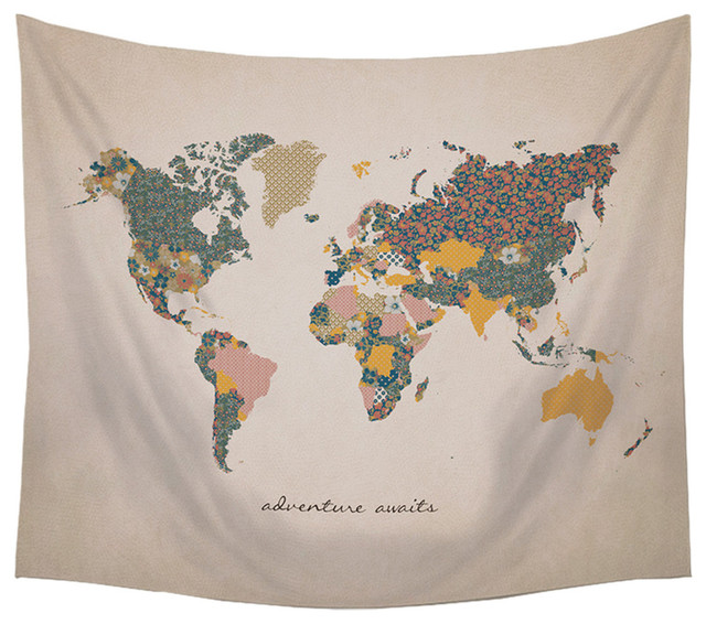 """Stratton Home Decor """"Adventure Await"""" Map Wall Tapestry"""