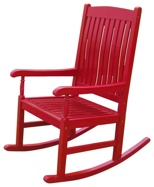 Outdoor Wooden Porch Rocker, Red Contemporary Outdoor Rocking Chairs