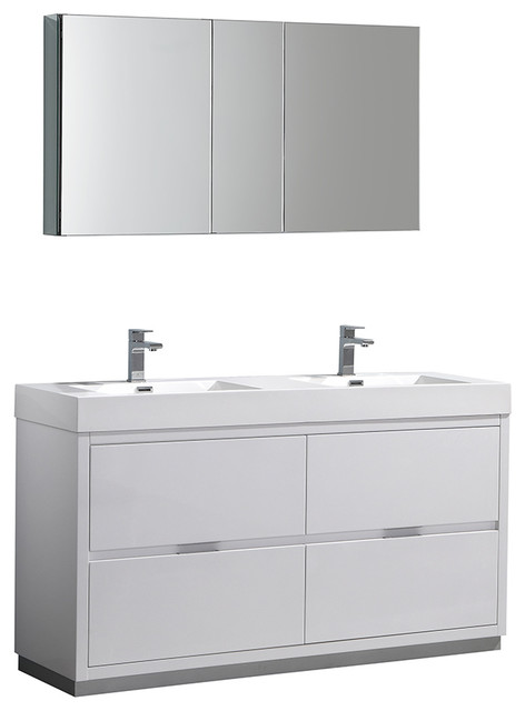 Valencia 60 Glossy White Free Standing Double Sink Vanity, Faucet Fft3111ch.