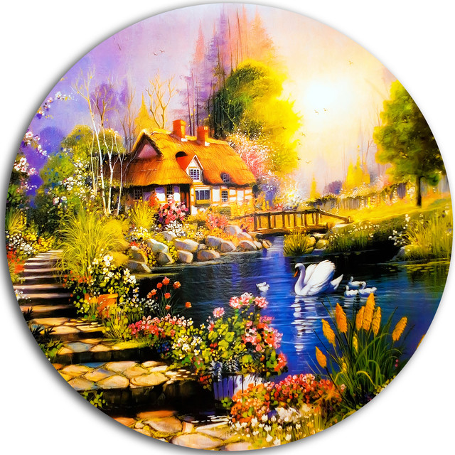 House near the Lake Swans, Landscape Round Metal Wall Art ...