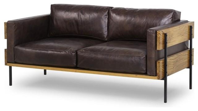 Fabulous Gudrun Loveseat Antique Espresso Leather Bralicious Painted Fabric Chair Ideas Braliciousco