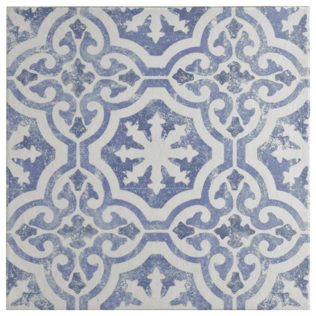 "12.75""x12.75"" Clinker Alcazar Quarry Floor and Wall Tiles, Magnolia"