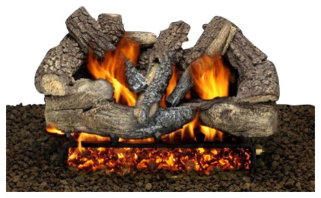 "18"" Granada Split Logs, Single Pilot Kit Burner Tube, Remote, Natural Gas"