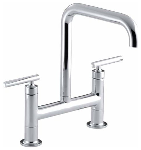 kohler k75474 purist double handle bridge kitchen faucet with rotating spout modern - Modern Kitchen Faucets
