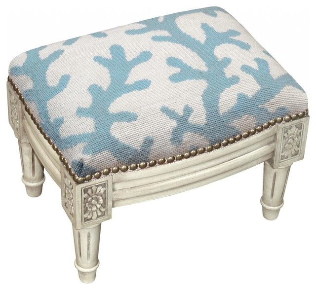 Coral Wool Needlepoint Antique Whitewash Wooden Footstool