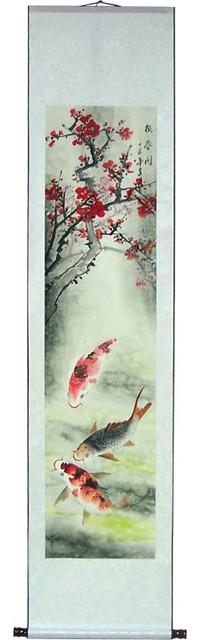 Oriental Decor 70 Quot Tall Koi Fish And Cherry Blossoms