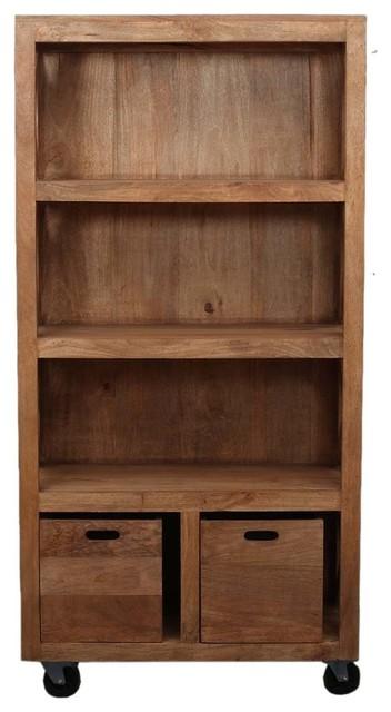 Rustic Mango Wood Appalachian Rolling Book Case Shelves w Bins by Sierra Living Concepts