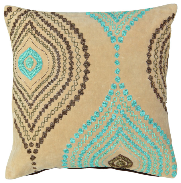 Decorative Pillows With Beads : Aqua Ogee Beads Velvet Throw Pillow - Contemporary - Decorative Pillows - by Mod Lifestyles