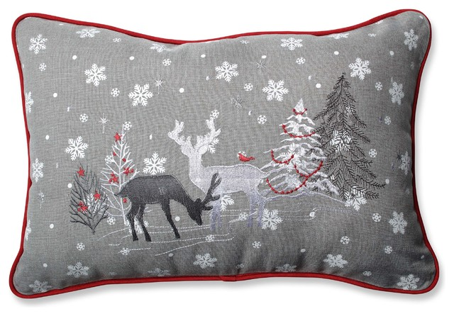 Pillow Perfect White Christmas Gray Rectangular Throw Pillow - Decorative Pillows - by Pillow ...