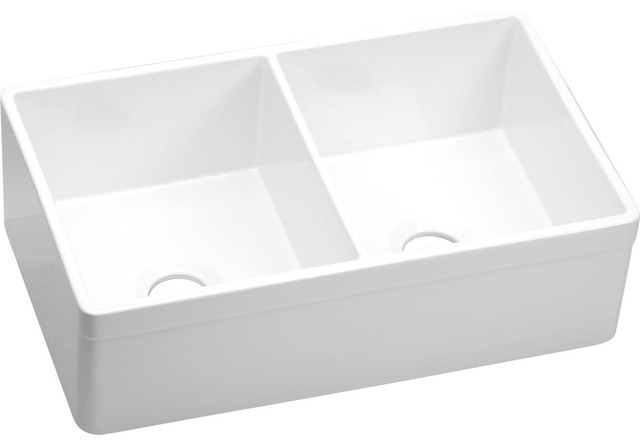 Elkay Fireclay Equal Double Bowl Farmhouse Sink White