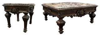 Traditional Living Room Coffee Table and End Table, 2-Piece Set