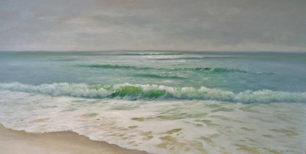 Large Original Tropical Seascape Beach Painting, Contemplation