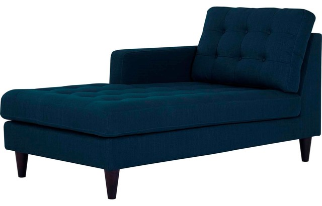 Modern Contemporary Urban Living Left Arm Chaise Lounge Chair Navy Blue Fabric
