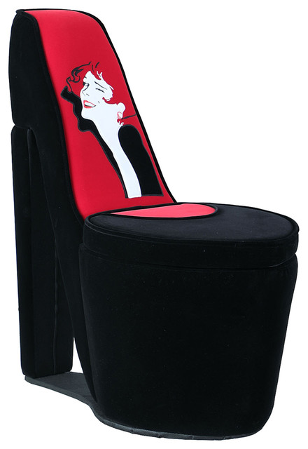 3286 Tall Chair With Storage High Heel Shoe Design Black And