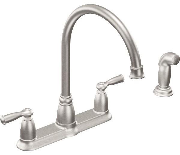 Shop Houzz Moen Inc Moen Banbury Double Handle Kitchen Faucet With Matching