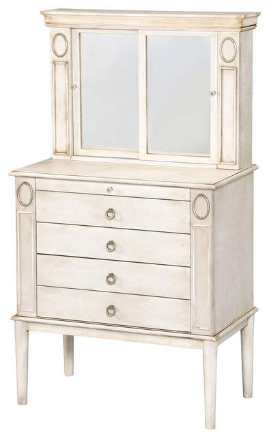 Leven Jewelry Armoire, Antique-Style White - Traditional ...