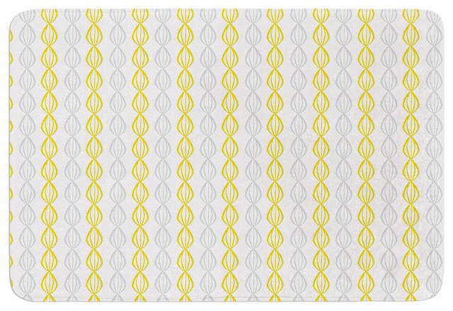 Julie Hamilton Lemon Pod Yellow Gray Memory Foam Bath Mat