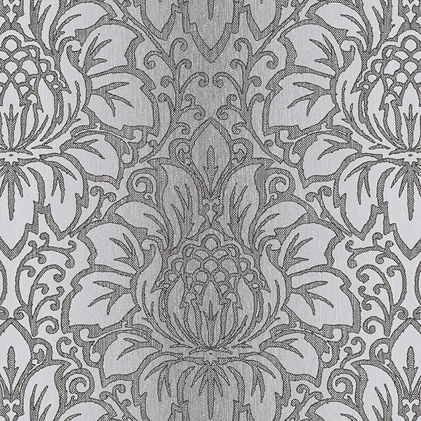 Venetian Damask Black, Gray, Silver, Tx34822, Double-Roll.