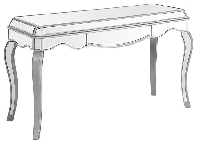 Chamberlan Clear Mirror 1 Drawer Rectangle Desk.