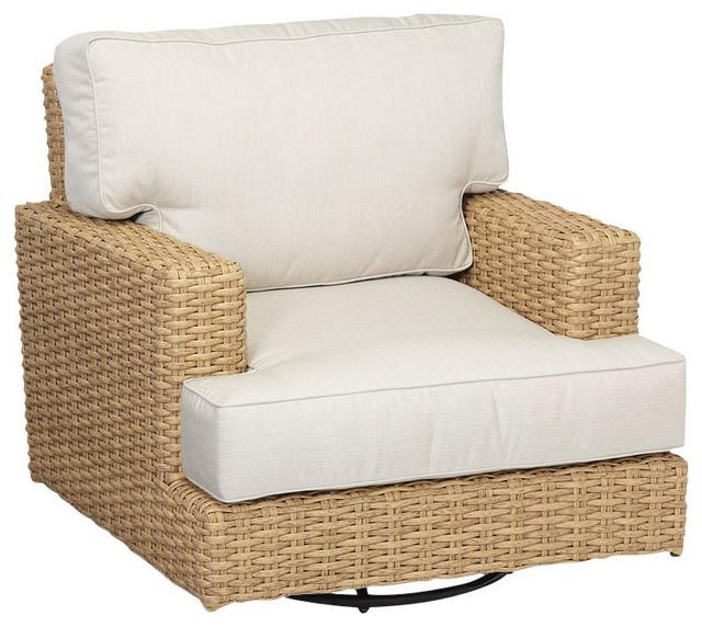 Leucadia Swivel Rocking Club Chair With Cushions, Cushions: Canvas Navy  Beach Style