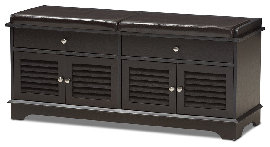 Modern And Contemporary Dark Brown Wood 2 Drawer Shoe Storage Bench Transitional Shoe Storage By Imtinanz Llc,What Is The Best Paint For Kitchen Cabinets