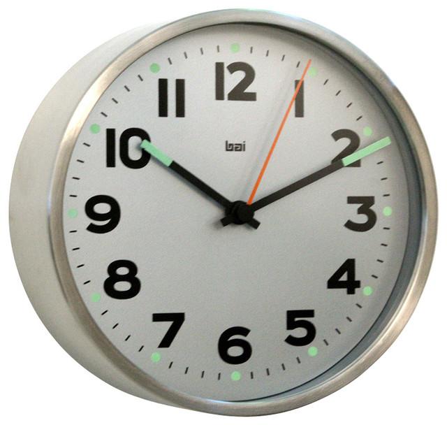 bai 6 stainless steel designer wall clock mega silver with niteglow wall clocks by bai. Black Bedroom Furniture Sets. Home Design Ideas