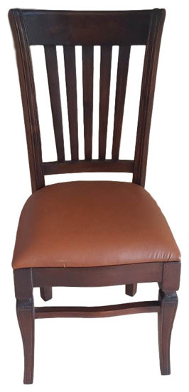 Hand Carved Teak Wood Leather Dining Chair Transitional Dining
