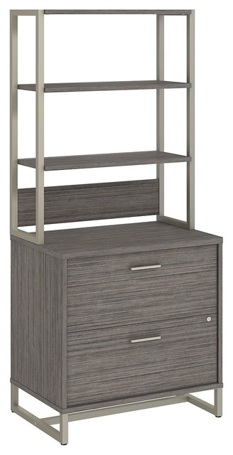 Office By Kathy Ireland Method Lateral File Cabinet With Hutch, Cocoa