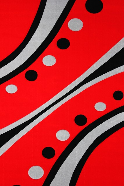 """Dotted Red Rug, Red, 7'10"""" x 10'6"""", Faux Wool"""