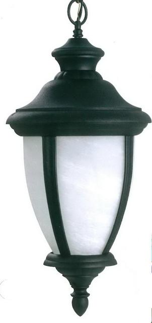 Black With White Alabaster Glass Hanging Exterior Lantern