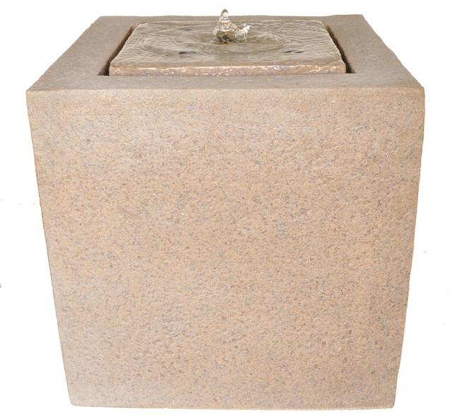 Zenvida Outdoor Garden Fountain Sandstone Cube With Led