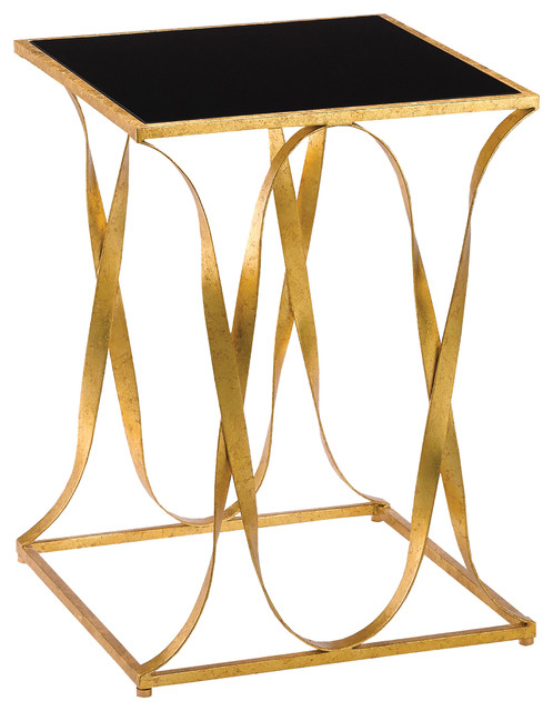 Walsh Hollywood Regency Square Gold Iron Ribbon Black Glass Top Side