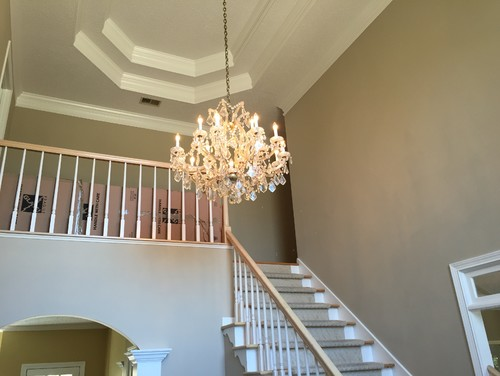 Foyer Lighting Story : What is the best size for a chandelier in two story