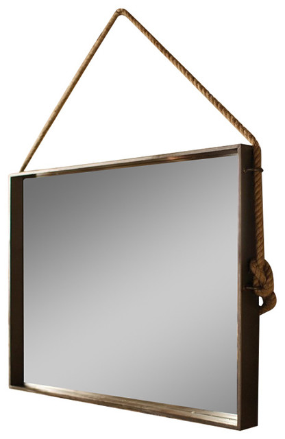 Large Rectangle Metal Mirror With Rope Hanger by Bseid ...