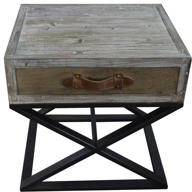 Syracuse Side Table Metal Base Wood Top And Leather Strap