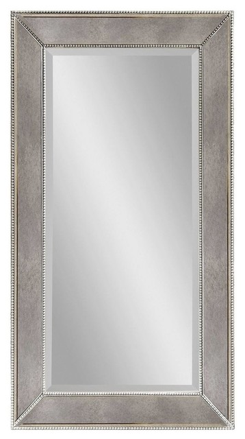 Large Silver Wall Mirror large antique silver rectangle wall mirror - contemporary - wall