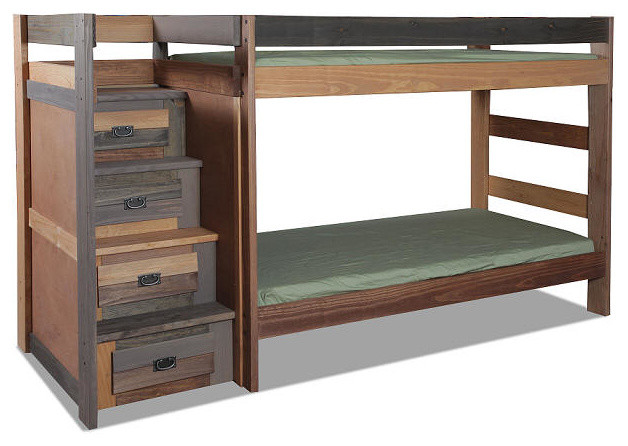 Morgan Creek Extra Long Twin Over Twin Stairway Bunk Bed, Bunk Bed Only.