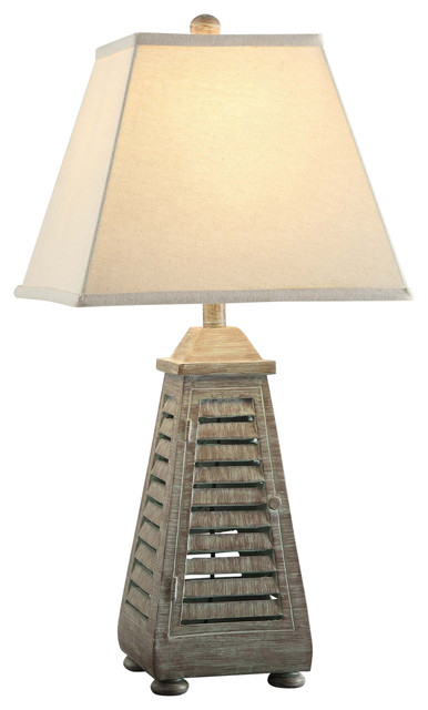 Shutter Tower Table Lamp, Resin Antique Grey Wash Finish.